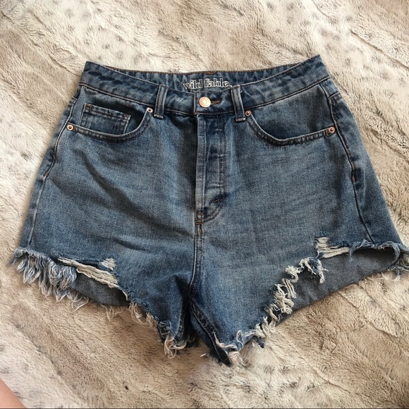 MED WASH WILD FABLE RIPPED HIGH RISE JEAN SHORTS